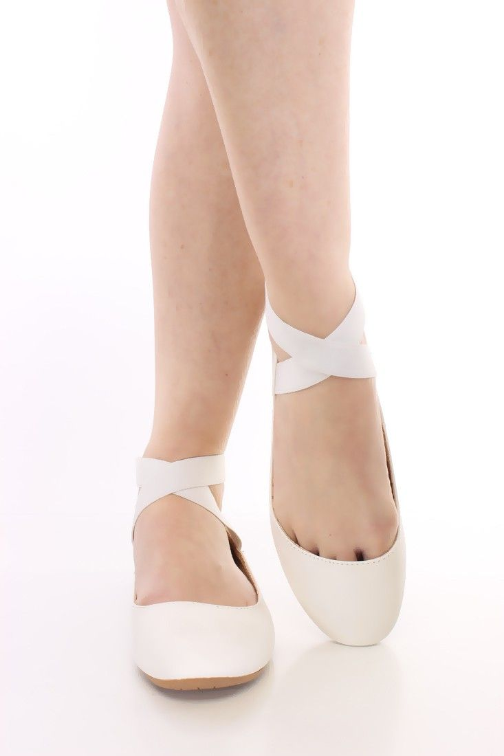 White Crisscross Ankle Strappy Flats Faux Leather | Flats ...
