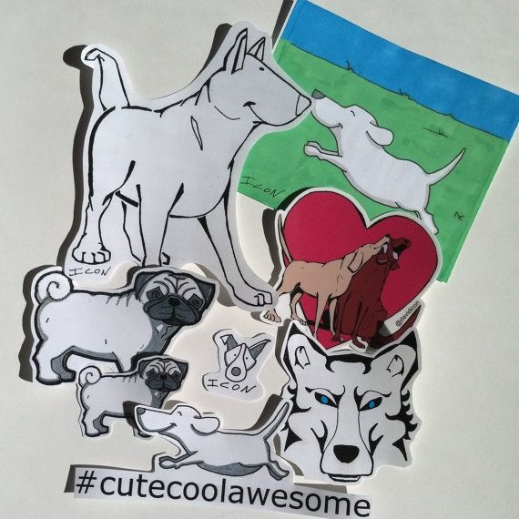 Dog Stickers by CuteCoolAwesome on Etsy