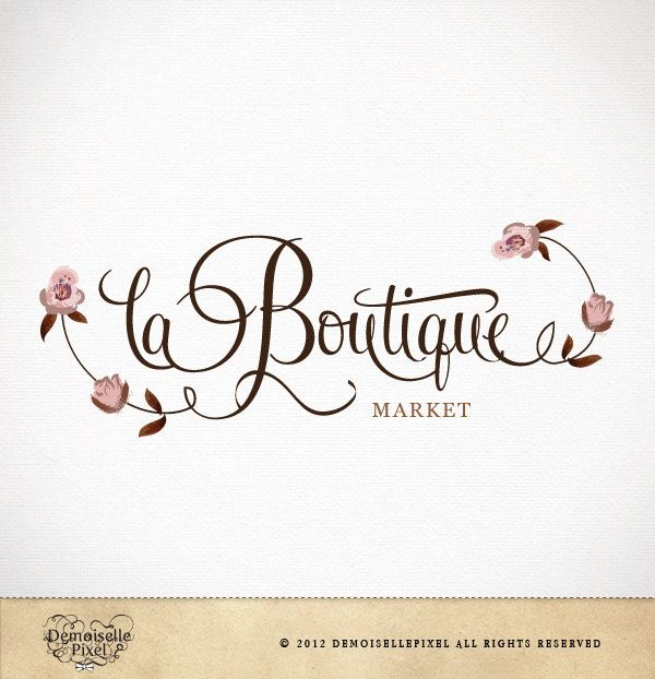 boutique logo design custom calligraphy text flowers for small business 3990 via etsy