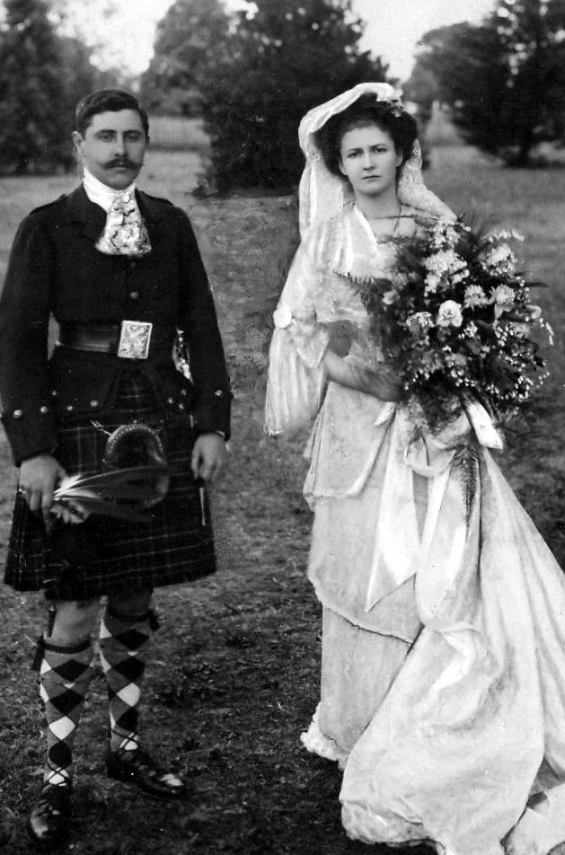Old photograph of a wedding in Highland Perthshire, Scotland