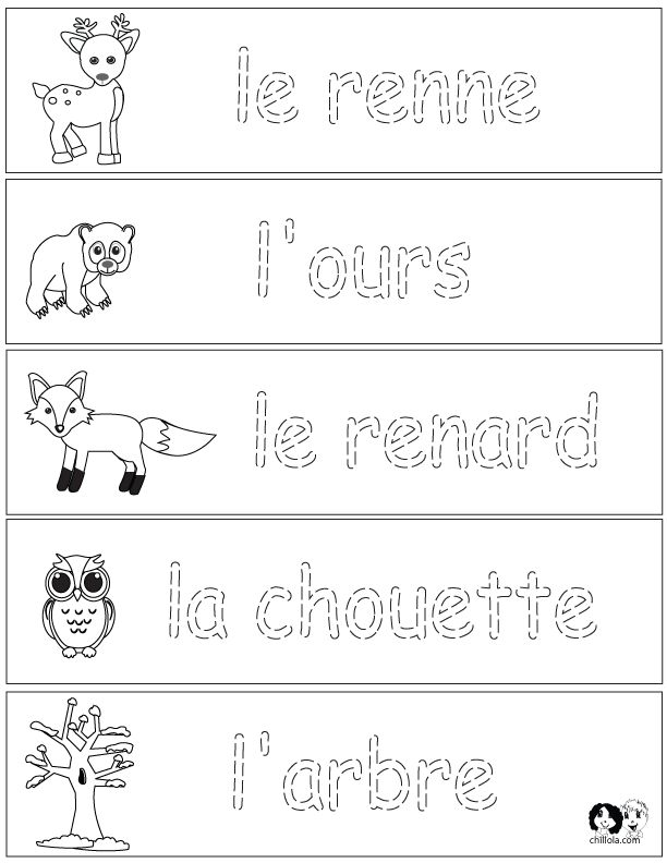 french winter animals worksheets english for children french for children ger french. Black Bedroom Furniture Sets. Home Design Ideas