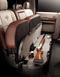 Hidden Long Gun Compartment Under Seat of Pickup Truck... need this!