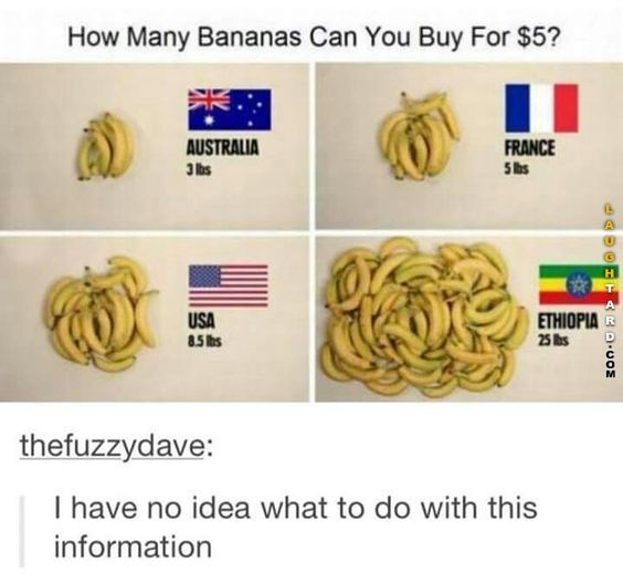 Well, it's pretty simple. Bananas are most common in Ethiopia, so naturally they're cheaper.