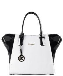#Kazar Czarno-biała torebka skórzana