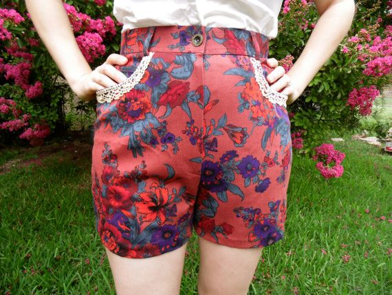 Check out this item in my Etsy shop https://www.etsy.com/listing/190591423/upcycled-floral-high-waisted-shorts-with