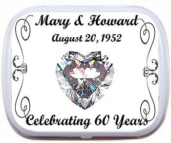 "60th diamond anniversary favor mint tins - a special momento for your anniversary guests on your special day. These personalized mint tins feature a large diamond heart and have the anniversary couple's names and date plus ""Celebrating 60 Years"" at the bottom of the tin. http://www.weddingaccents.com/accessories/iaw-60thdiamond-anniversaryfavortins.htm"