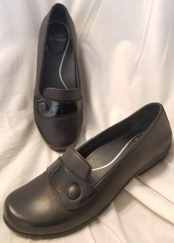 Dansko 40/8.5-9 US loafer Olena casual black leather flats comfort shoe button #Dansko #Comfort #Casual