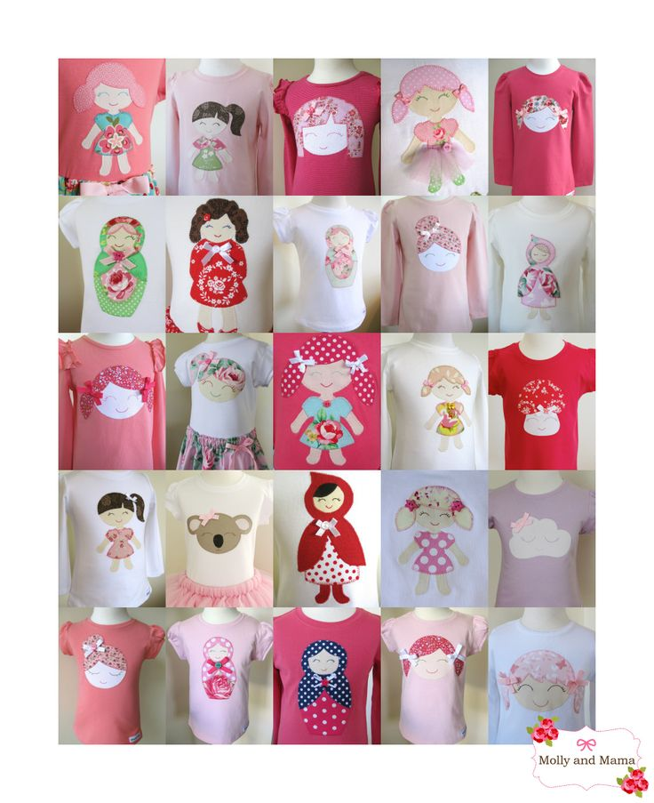 A sea of smiling faces! Original and unique applique designs from Molly and Mama. Purchase templates at www.etsy.com/shop/MollyandMama including Doll face, Betty Babushka, and Beatrice Bunny. Sleepy Cloud, Katie Koala, Little Miss Red, Mabel Mushroom and Miss Margot all coming soon.
