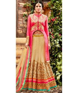 Sparkly Pink And Beige Net Lehenga Choli.