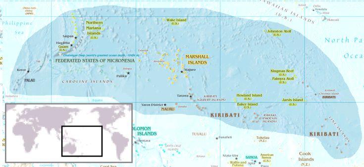 Mapa dos Estados Federados da Micronésia. ◆Estados Federados da Micronésia – Wikipédia http://pt.wikipedia.org/wiki/Estados_Federados_da_Micron%C3%A9sia #Micronesia
