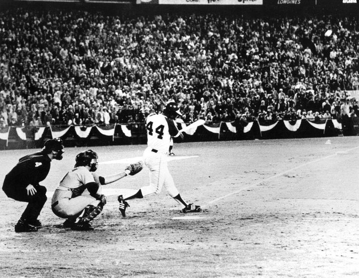 Vintage Photo of the Day: #MLB   #Braves outfielder, Hank Aaron, hits his 715th career home run in front of a crowd of 53,775 people at Atlanta-Falcon County Stadium on April 8th, 1974.