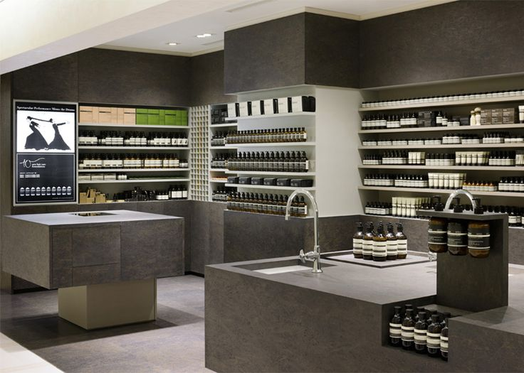 Chipboard disguised as marble for Aesop skincare shop in a Tokyo department store by Torafu Architects