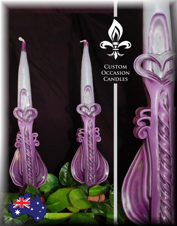 Valentines cut and carve Taper Candle pair by CustomOccasionCandle, $18.00