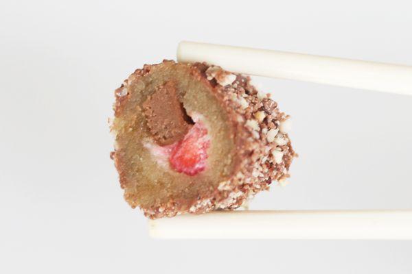 Chokolade-sushi – med jordbær, nougat og kaffe