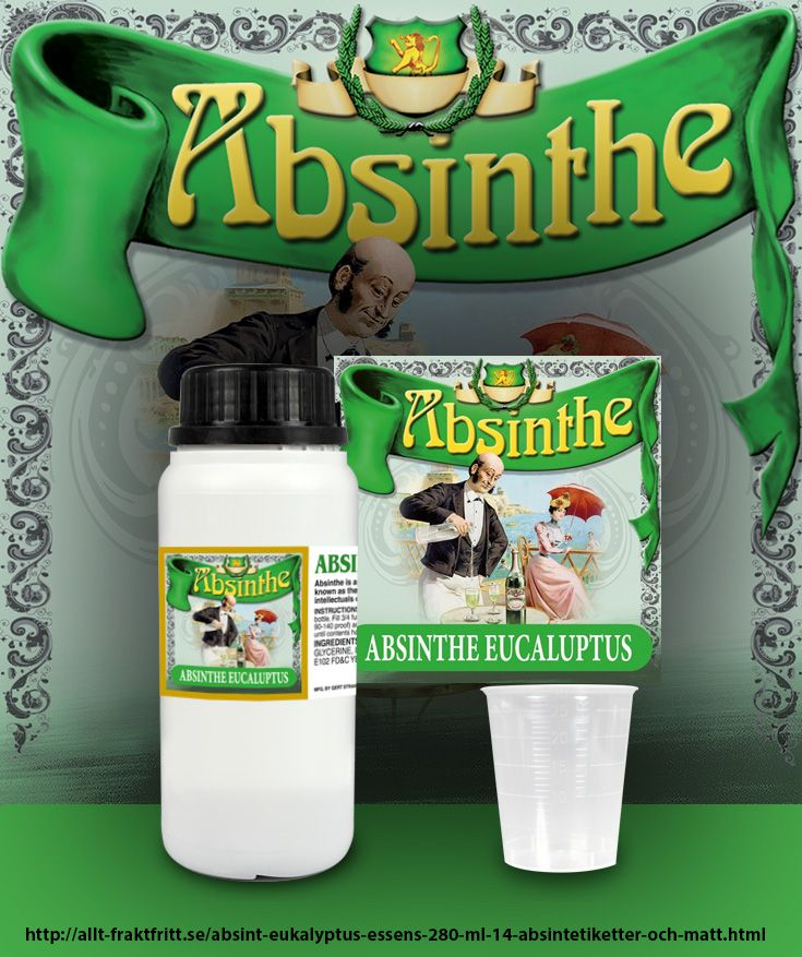 Absint med frisk smak av eukalyptus  280 ml Essens ger 14 st 750 ml flaskor Absinthe när innehållet blandas med sprit.   Du får även med 14 etiketter du kan sätta på flaskorna samt mått för att dosera lagom mängd till en 75 cl flaska. Mer information och tydliga instruktioner medföljer på etiketten till flaskan
