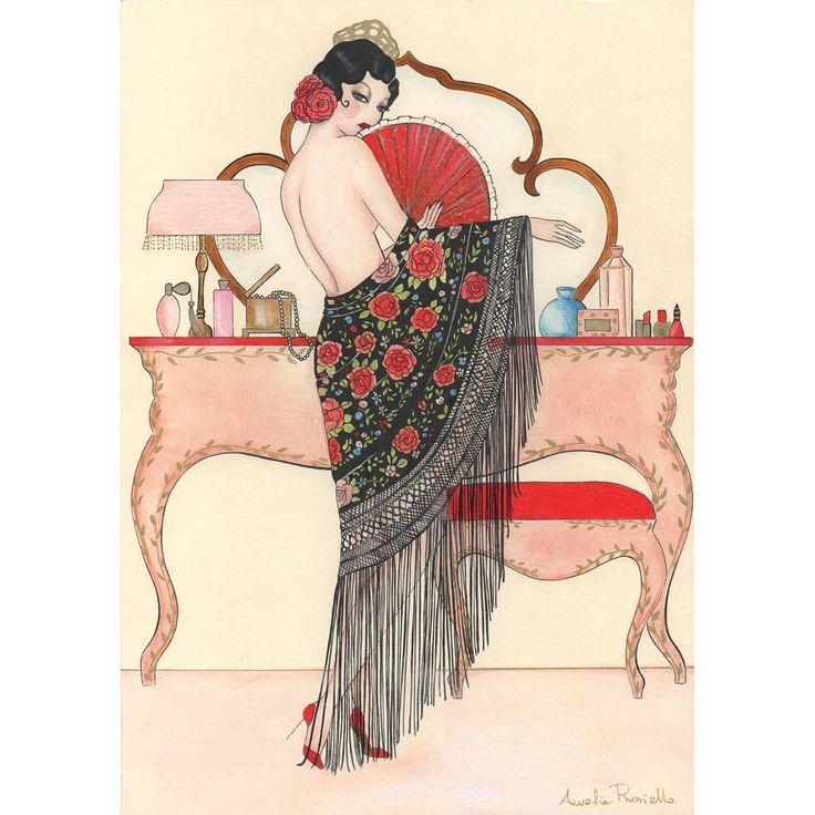 🌹Flamenco dancer custom Artwork🌹 #1920 #1920sfashion #flamenco #dancers #1920s #womanart #madamedabiboudoir #sketch #draw #drawing #instart #vintagelook #vintagefashion #vintage #vintageinspired #vintageillustration #vintageerotica #artdeco #creative #arte #illustrazione #illustration #vintageroom #vintageshop #vintageinterior #makeup #vintagemakeup #pastel #beauty #glamour