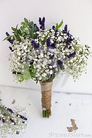 Bouquet of baby s breath with eucalyptus and lavender