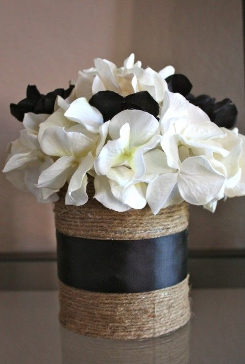 DIY can decor - this would be great on the end table with red flowers in it.