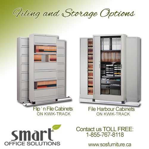 At Smart Office Solutions, we offer a wide variety of storage options to keep your office organized and efficiently operating at all times. Our products include Bookcases, Shelves, Lateral Files and Cabinets that slide effortlessly on QUIK-TRACK. For more information Contact us Toll Free 1-855-767-8118 www.sosfurniture.ca