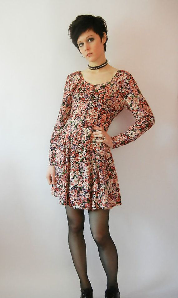 Love the dress! Vintage Grunge Dress Size Small Floral Mini by littleraisinvintage, $20.00