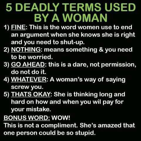 Five deadly terms used by women.: Dead Term, Laughing, Quote, Truths, So True, Funny Stuff, Humor, Funnystuff, True Stories