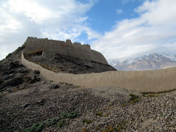 The outer city wall of ancient Tashkurgan, Xinjiang, China, extends from the Stone Fort. First built in the 6th century, the fort was an important stop on the ancient Silk Road.