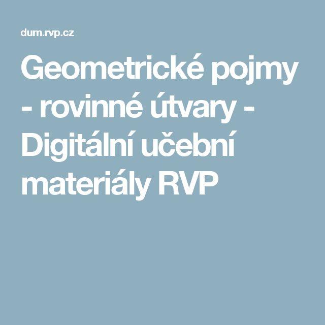 Geometrické pojmy - rovinné útvary - Digitální učební materiály RVP