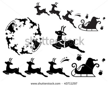 stock vector : Santa Claus sleigh silhouette ornament. Useful as vector brush