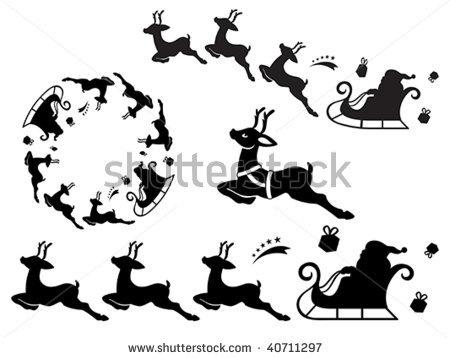stock vector : Santa Claus sleigh silhouette ornament. Useful as vector brush