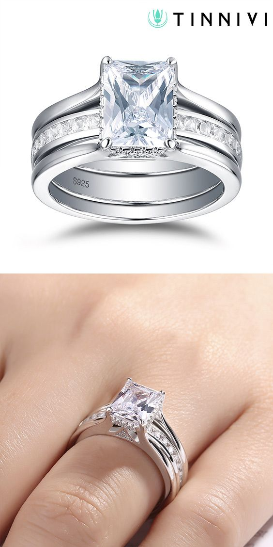 Tinnivi Stylish Emerald Cut Created White Shire Sterling Silver Wedding Set Online Jewelry Creates Quality Fine At
