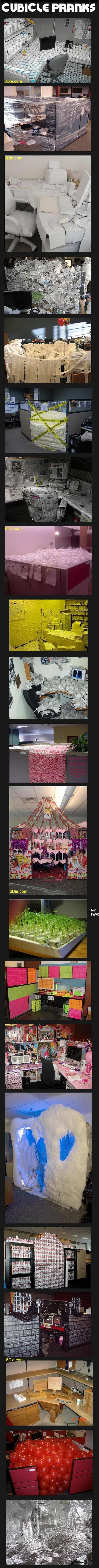 20 best cubicle pranks. The guys at work are gonna hate me!!!