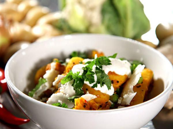 vegetarisk curry med potatis och blomkål