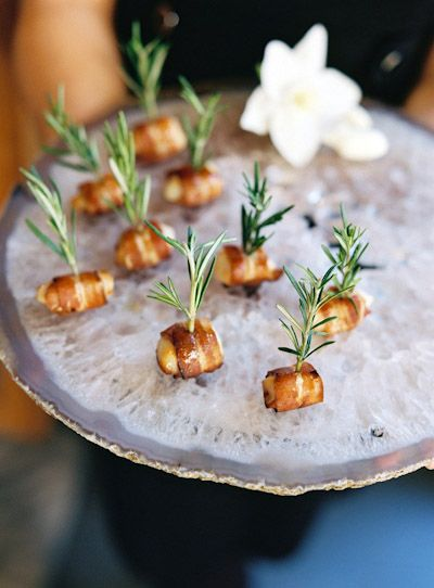Rosemary instead of toothpick - nice apresentation for hors d'oeuvre !