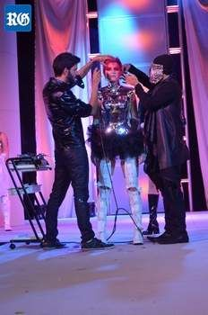 Avi Ram and Tanju Kurt style live on stage at the International Beauty Show, New York.