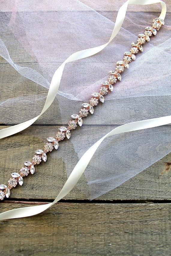 95f703d838a3 Bridal Rose gold Crystal Flower Belt. Blush Thin Rhinestone Jewel Wedding  Dress Sash. Pink, Dainty Bridesmaid Delicate Slim Belt. CHARLOTTE