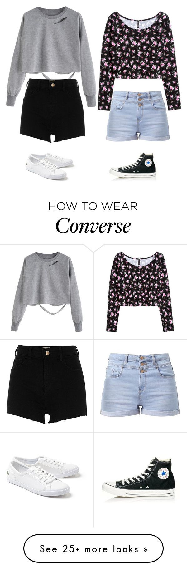 """Outfit of summer 2017"" by clea69 on Polyvore featuring River Island, Lacoste, H&M and Converse"