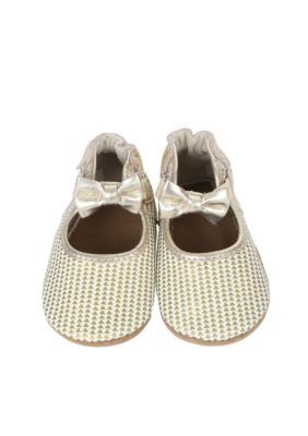Robeez Girls' Triangle Print Mary Jane Soft Sole Shoe - Gold - 12 - 18 Months