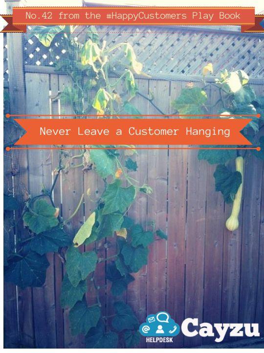 Never Leave a Customer Hanging.  http://www.cayzu.com