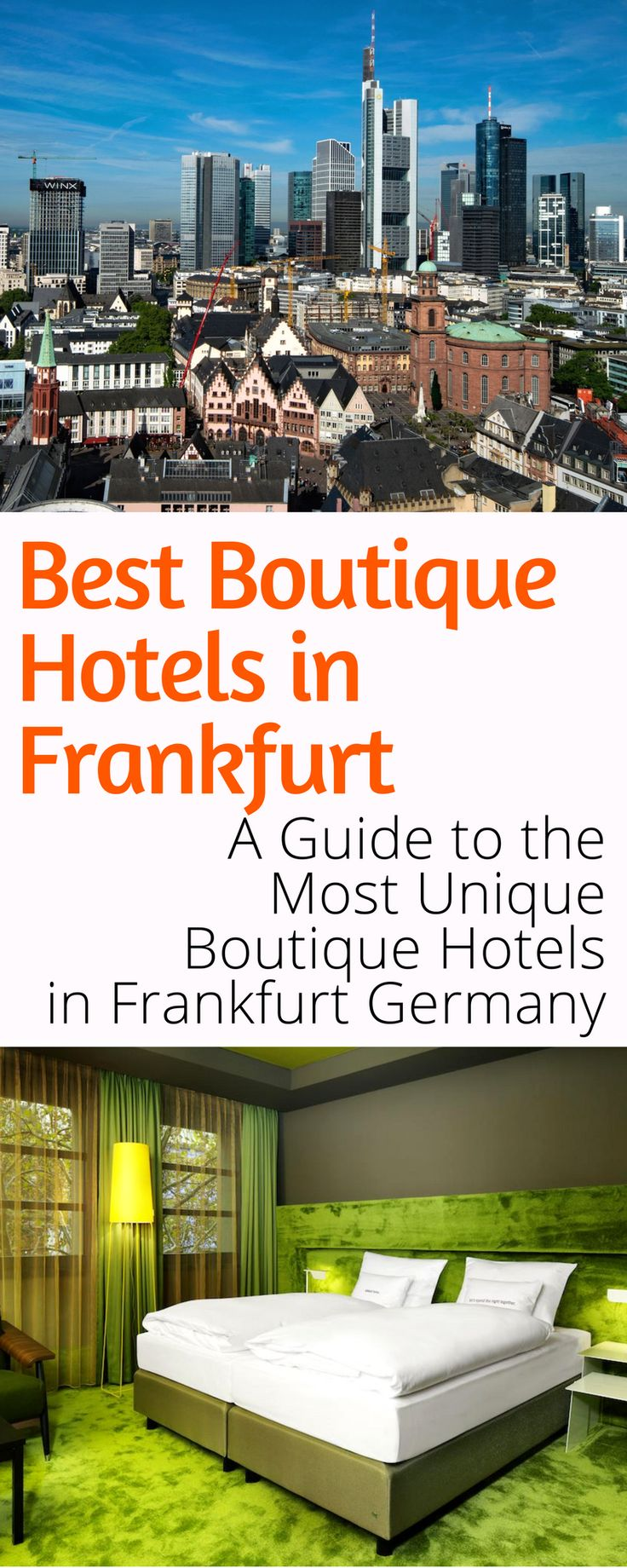 Best Boutique Hotels in Frankfurt: Frankfurt Germany is filled with amazing hotels. Here is your guide to the best boutique and design hotels Frankfurt has to offer! Click here to discover where to pamper yourself in Frankfurt.