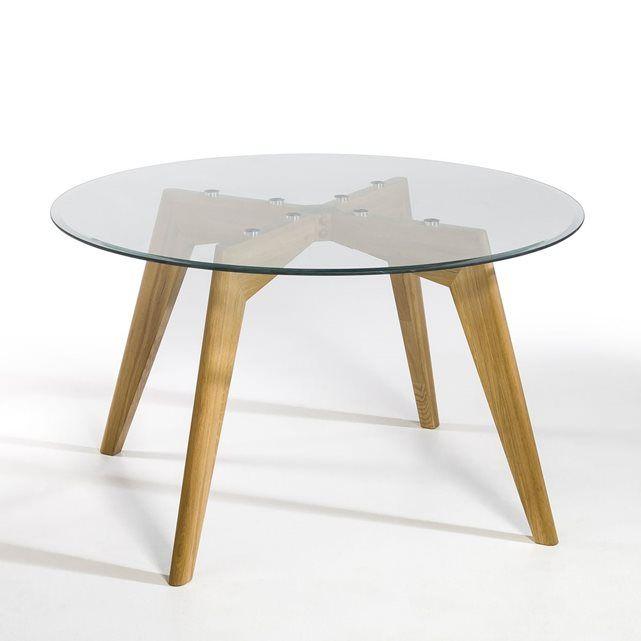 table ronde verre et chêne Ø130 cm, kristal