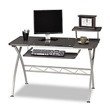 Mayline - Eastwinds Vision Computer Desk - Anthracite with Black Glass
