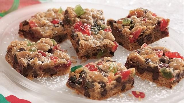 Chocolate Chip Fruitcake Bars -This isn't your grandma's fruitcake! Refrigerated chocolate chip cookie dough is mixed with candied fruit pieces and layered with jam for a bar recipe that could give fruitcake a great new reputation!