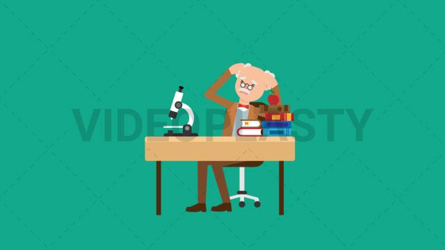 An older professor with gray hair wearing a brown suit is working at his desk looking through the microscope and then becomes stressed out as if he can't figure it out! Two versions are included: normal (with a start animation) and loopable. The normal version can be extended with the loopable version Clip Length:10 seconds Loopable: Yes Alpha Channel: Yes Resolution:FullHD Format: Quicktime MOV