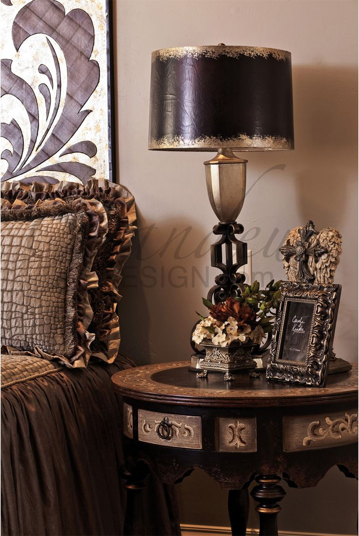 Old World bedside table - rich design, dark stain, circular design echoes Old World domed ceilings.