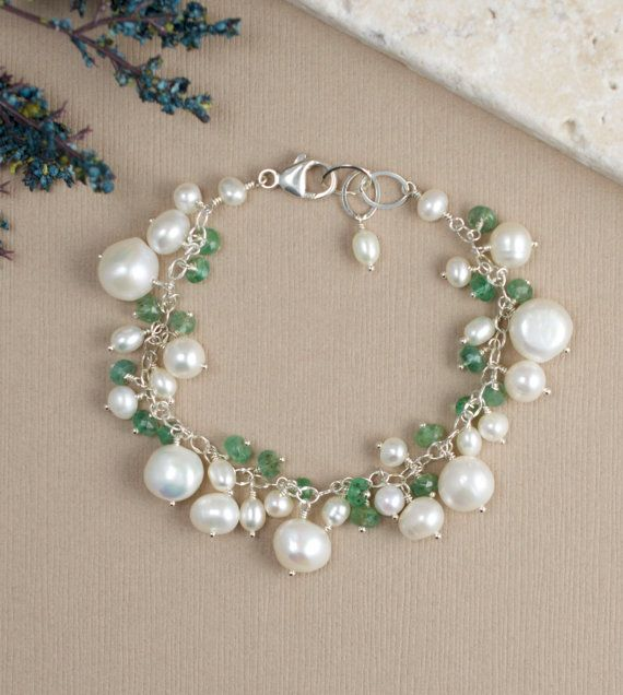 Emerald and Pearl Bracelet Green Gemstone Jewelry, Christmas gifts ideas by BlueRoomGems, $158.00