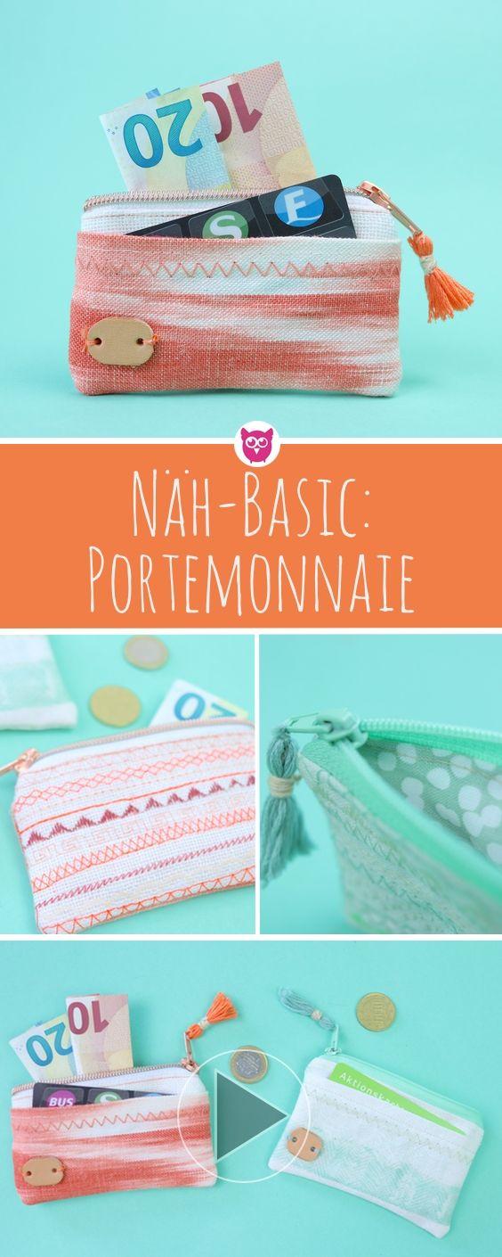 Basic Nähanleitung: Portemonnaie mit Reißverschluss, Kartenfach, Tassel und Lederdeko nähen. Wie es funktioniert wird Dir Schritt für Schritt im Video erklärt.