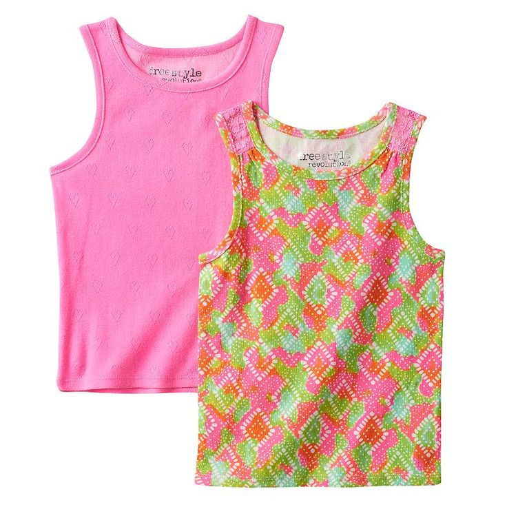Toddler Girl Freestyle Revolution 2-pk. Perforated Heart Tank Top & Multi-Colored Pattern Tank Top, Ovrfl Oth