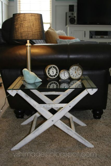 WHIMAGES.    Quick, easy and cheap DIY end table from a $10 directors chair.  Whimages.blogspot.com