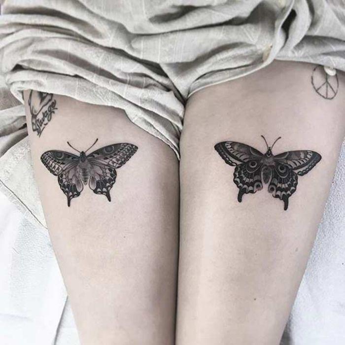 tattoo am oberschenkel, bein tattoo, tattoo motive fuer frauen, schmetterlinge