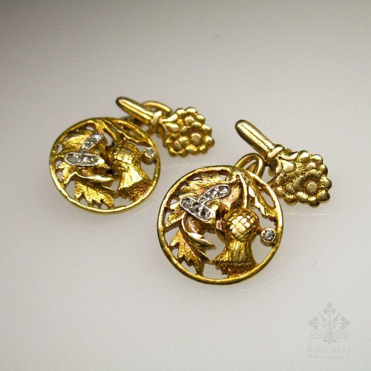 Antique Art Nouveau 18k Gold Diamond Cufflinks